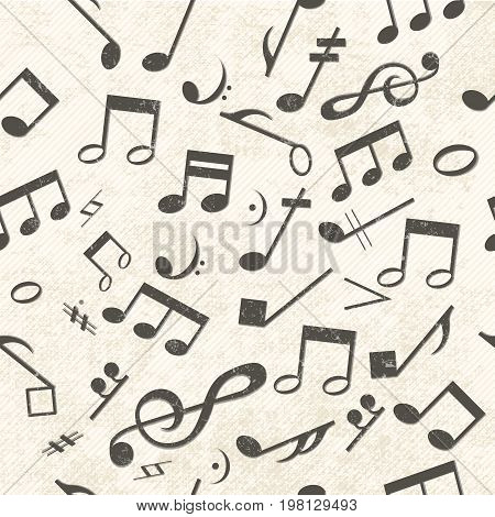 Colorful music seamless pattern chaotically placed notes and treble clef on light gray background with a barely visible lines vector illustration