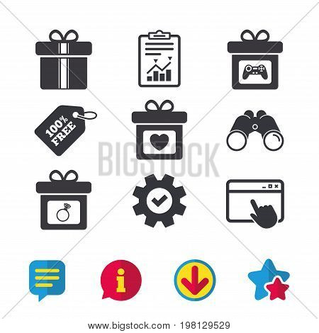 Gift box sign icons. Present with bow and ribbons symbols. Engagement ring sign. Video game joystick. Browser window, Report and Service signs. Binoculars, Information and Download icons. Vector