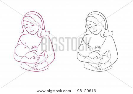Mother breastfeeding.World Breastfeeding Week illustration.Concept of motherhood.Vector illustration
