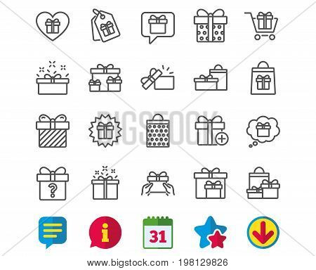 Gifts line icons. Set of Present box, Offer and Sale signs. Shopping cart, Tags and Chat symbols. Speech bubble, Give a gift and Question mark. Information, Calendar and Download signs. Chat and Stars
