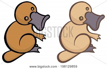 Funny cartoon platypus - You can design cards, part of platypus logo, mascot, corporate character and so on. Lively animal character.