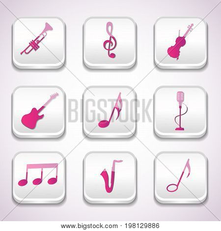 3d colorful music icon set with musical instruments notes treble clef in squares vector illustration