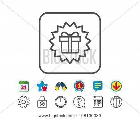 Gift box offer line icon. Present or Sale sign. Birthday Shopping symbol. Package in Gift Wrap. Calendar, Globe and Chat line signs. Binoculars, Award and Download icons. Editable stroke. Vector