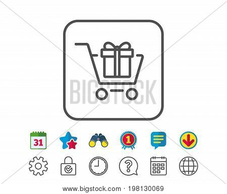 Shopping cart with Gift box line icon. Present or Sale sign. Birthday Shopping symbol. Package in Gift Wrap. Calendar, Globe and Chat line signs. Binoculars, Award and Download icons. Editable stroke