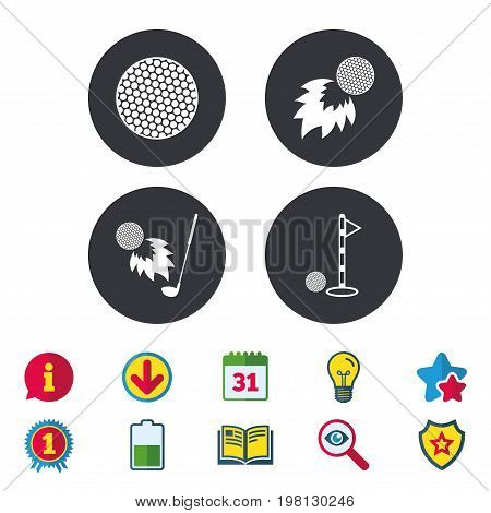 Golf ball icons. Fireball with club sign. Luxury sport symbol. Calendar, Information and Download signs. Stars, Award and Book icons. Light bulb, Shield and Search. Vector