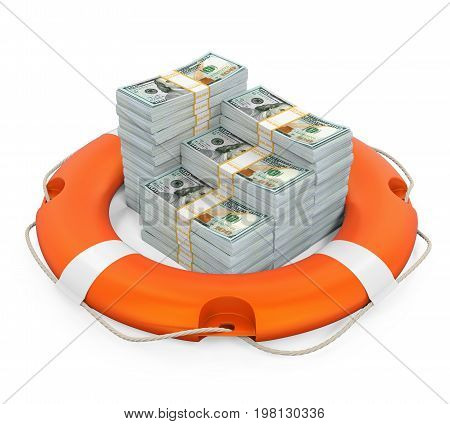 United States Dollars and Lifebuoy isolated on white background. 3D render