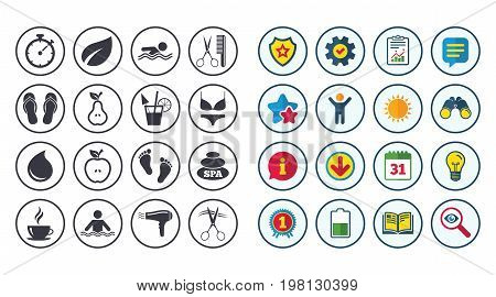 Set of Swimming pool, Spa and Hairdressing icons. Coffee, Cocktail and Apple signs. Water drop, Scissors and Hairdryer symbols. Calendar, Report and Book signs. Stars, Service and Download icons