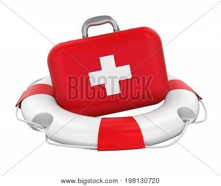 First Aid Kit in Lifebuoy isolated on white background. 3D render