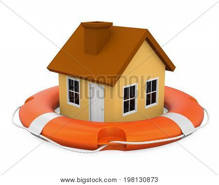 House in Lifebuoy isolated on white background. 3D render