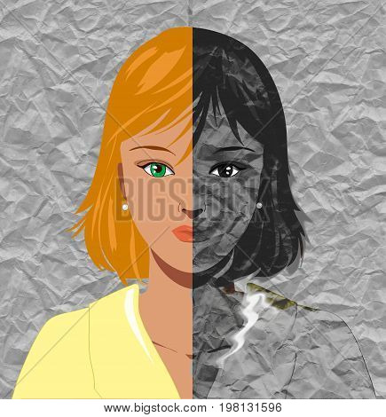 Portrait of beautiful young blond woman worrying to become old. Concept illustration