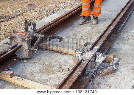 Tram Tracks Being Joined 2