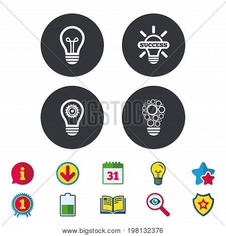 Light lamp icons. Circles lamp bulb symbols. Energy saving with cogwheel gear. Idea and success sign. Calendar, Information and Download signs. Stars, Award and Book icons. Vector
