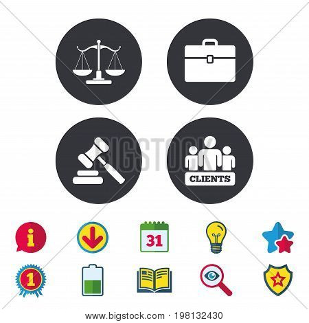 Scales of Justice icon. Group of clients symbol. Auction hammer sign. Law judge gavel. Court of law. Calendar, Information and Download signs. Stars, Award and Book icons. Vector