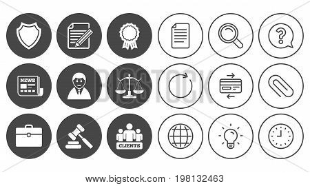 Lawyer, scales of justice icons. Clients, auction hammer and law judge symbols. Newspaper, award and agreement document signs. Document, Globe and Clock line signs. Vector