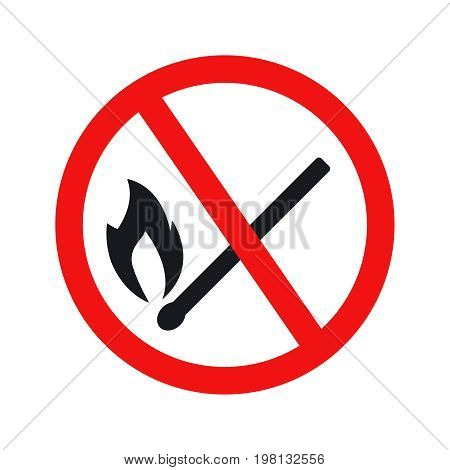 No fire sign icon on white background. Illustration flat vector eps10.