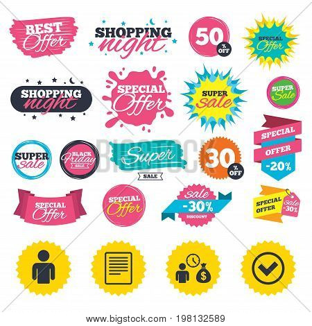 Sale shopping banners. Bank loans icons. Cash money bag symbol. Apply for credit sign. Check or Tick mark. Web badges, splash and stickers. Best offer. Vector