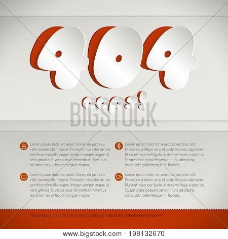 Web page mistake design concept for website development with 404 error code cut from white paper on red background flat vector illustration
