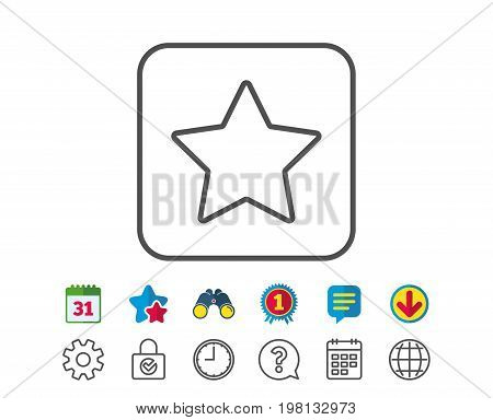 Star line icon. Best rank sign. Bookmark or Favorite symbol. Calendar, Globe and Chat line signs. Binoculars, Award and Download icons. Editable stroke. Vector