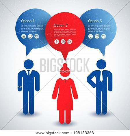 Red and blue business people collective silhouette with text fields on white background flat vector illustration