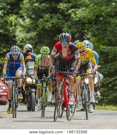 Mont du Chat France - July 9 2017: The cyclist Richie Porte of BMC Team leads the Yellow Jersey (Christopher Froome) group climbing the road on Mont du Chat during the stage 9 of Tour de France 2017.