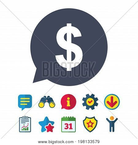 Dollars sign icon. USD currency symbol. Money label. Information, Report and Speech bubble signs. Binoculars, Service and Download, Stars icons. Vector