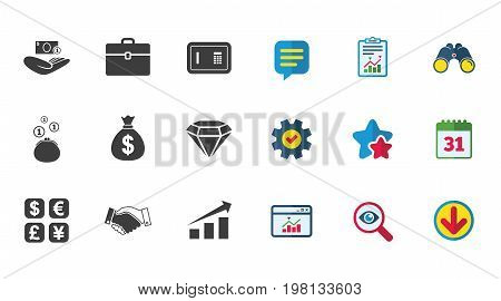 Money, cash and finance icons. Handshake, safe and currency exchange signs. Chart, case and jewelry symbols. Calendar, Report and Download signs. Stars, Service and Search icons. Vector