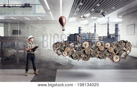 Builder man and clockwork. Mixed media
