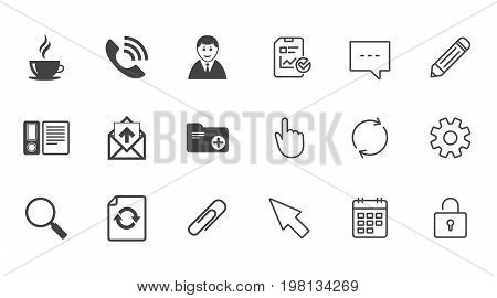 Office, documents and business icons. Coffee, phone call and businessman signs. Safety pin, magnifier and mail symbols. Chat, Report and Calendar line signs. Service, Pencil and Locker icons. Vector