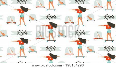 Hand drawn vector cartoon drawing summer time fun seamless pattern illustration with young girl riding on longboard and dog on skateboard isolated on white background