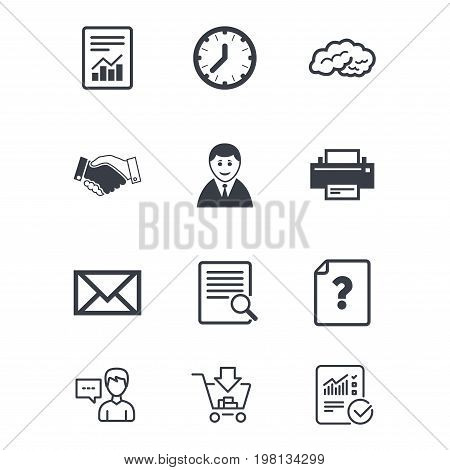 Office, documents and business icons. Deal, mail and businessman signs. Report, magnifier and brain symbols. Customer service, Shopping cart and Report line signs. Online shopping and Statistics