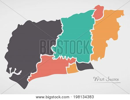West Sussex England Map With States And Modern Round Shapes