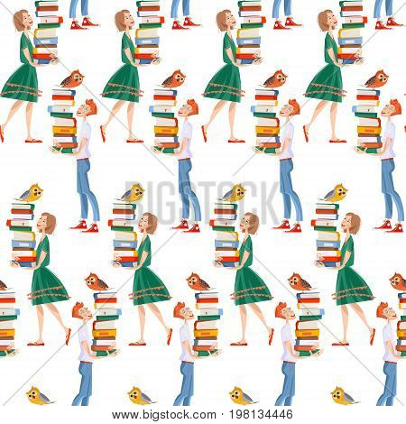 A boy and a girl with a piles of books and an owls. Back to school. Literacy Day. Seamless background pattern. Vector illustration