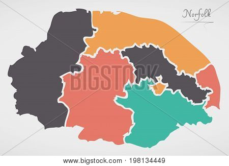 Norfolk England Map With States And Modern Round Shapes