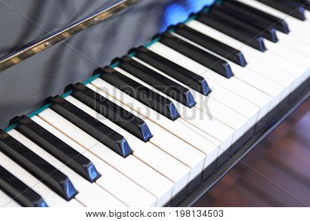 Closeup of piano white and black keys as background