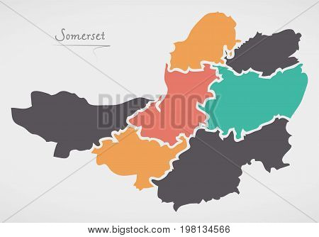 Somerset England Map With States And Modern Round Shapes