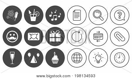Party celebration, birthday icons. Musical notes, air balloon and champagne glass signs. Gift box, fireworks and cocktail symbols. Document, Globe and Clock line signs. Vector