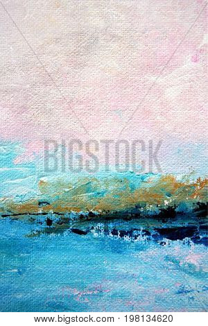 Abstract Painted Pink and Blue Seascape Triptych