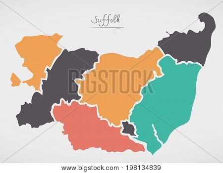Suffolk England Map With States And Modern Round Shapes