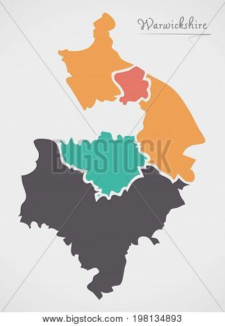 Warwickshire England Map With States And Modern Round Shapes