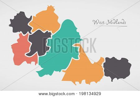 West Midlands England Map With States And Modern Round Shapes