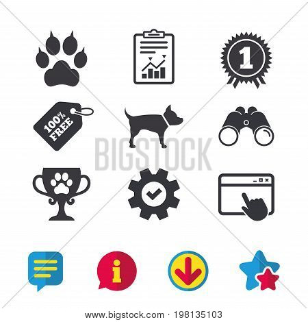 Pets icons. Cat paw with clutches sign. Winner cup and medal symbol. Dog silhouette. Browser window, Report and Service signs. Binoculars, Information and Download icons. Stars and Chat. Vector