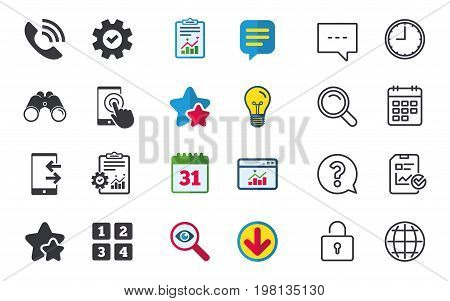 Phone icons. Touch screen smartphone sign. Call center support symbol. Cellphone keyboard symbol. Incoming and outcoming calls. Chat, Report and Calendar signs. Stars, Statistics and Download icons