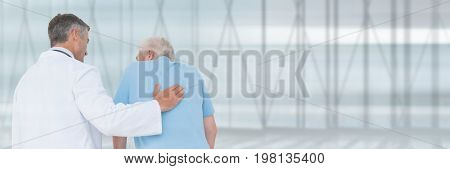 Digital composite of Untitled Doctor man helping a patient