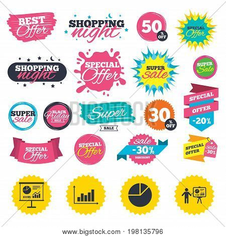 Sale shopping banners. Diagram graph Pie chart icon. Presentation billboard symbol. Supply and demand. Man standing with pointer. Web badges, splash and stickers. Best offer. Vector