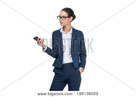 Beautiful Female Journalist In Suit Holding Recorder, Isolated On White