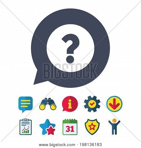 Question mark sign icon. Help symbol. FAQ sign. Information, Report and Speech bubble signs. Binoculars, Service and Download, Stars icons. Vector
