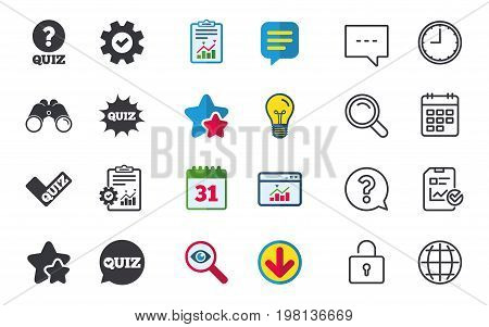 Quiz icons. Speech bubble with check mark symbol. Explosion boom sign. Chat, Report and Calendar signs. Stars, Statistics and Download icons. Question, Clock and Globe. Vector
