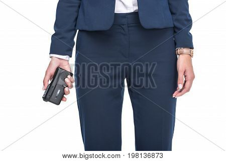Cropped View Of Female Newscaster In Suits Holding Recorder, Isolated On White