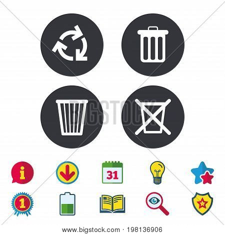 Recycle bin icons. Reuse or reduce symbols. Trash can and recycling signs. Calendar, Information and Download signs. Stars, Award and Book icons. Light bulb, Shield and Search. Vector