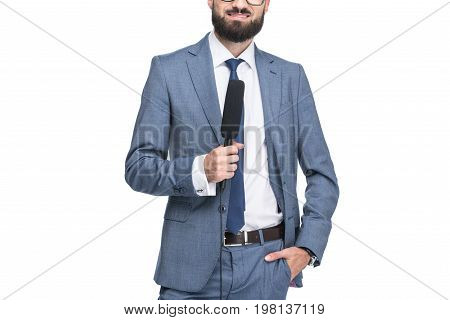 Cropped View Of Anchorman Holding Microphone, Isolated On White